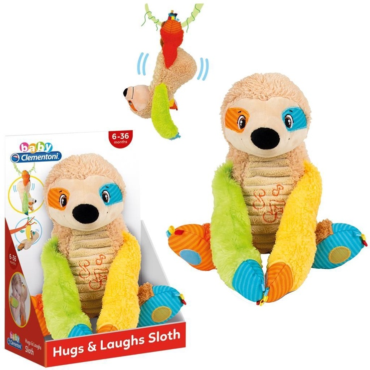 Pliušinis žaislas Clementoni Hugs & Laughs Sloth 17301, rudas/įvairių spalvų, 32 cm
