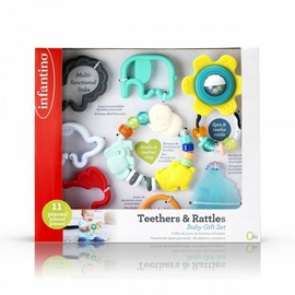 Прорезыватель Infantino Infantino Set Of First Teethers & Rattles, многоцветный, 11 шт.