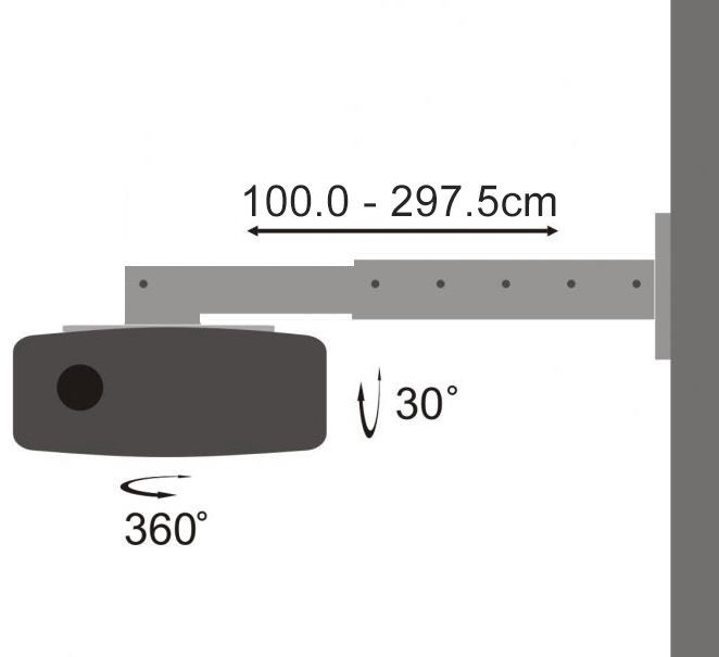 Sbox PM-300-3.0 Universal Projector Wall Stand Black