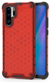 Hurtel Honeycomb Armor Back Case For Huawei P30 Pro Red