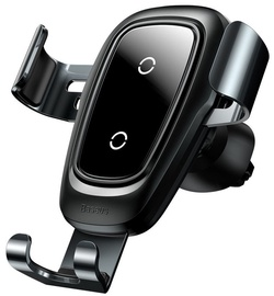 Baseus Metal Gravity Car Mount With Wireless Charger Black