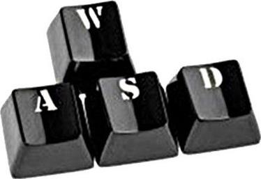 King Mod Service Metal Keycaps WASD Set for LED Keyboards Black