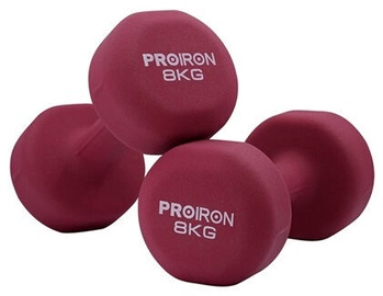 ProIron Neoprene Dumbbell Set Red Wine 2x8kg