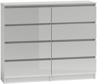 Top E Shop Malwa M8 Chest of 8 Drawers 120cm Gloss White