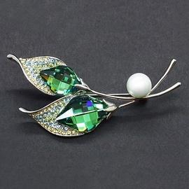 Diamond Sky Brooch Crystal Branch IX Fern Green With Swarovski Crystals