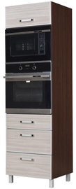 Virtuves skapītis Bodzio Ola High Rise Oven Microwave 60 Nut Latte, 600x590x2070 mm