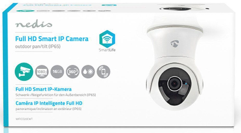 Nedis WIFICO20CWT WiFi Smart IP Camera Pan/Tilt Full HD 1080p