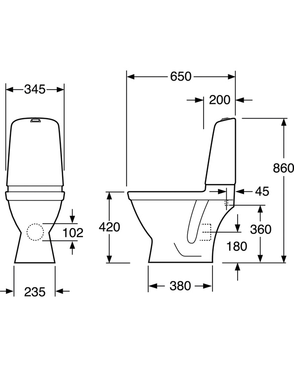 Tualete Gustavsberg Nautic 1510 HF GB111510201331, ar vāku, 345 mm x 650 mm