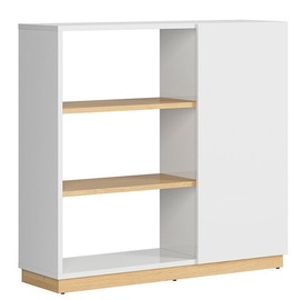Black Red White Denton Bookshelf 112cm Oak/White