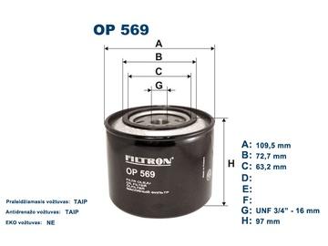 Automobilių tepalo filtras Filtron OP 569