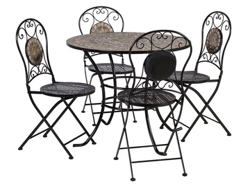 Home4you Mosaic Table And 4 Chairs Grey/Black