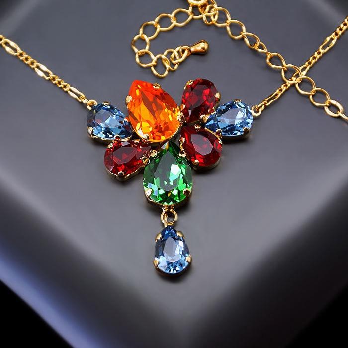 Diamond Sky Pendant Amber With Swarovski Crystals
