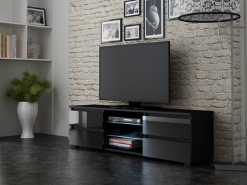 TV staliukas Pro Meble Milano 150 With Light Black, 1500x350x420 mm