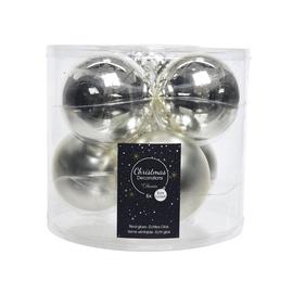 Stikliniai eglės žaislai, sidabriniai, 8 cm, 6 vnt