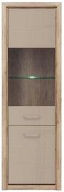 Black Red White Koen 2 Glass-Door Cabinet 63x200x40cm Monument Oak/Gray Sand Gloss