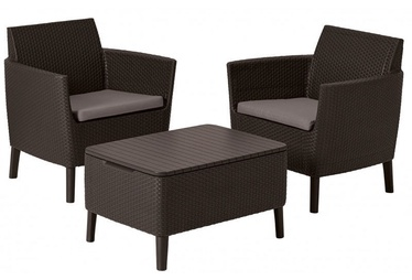 Keter Salemo Balcony Set w/ Storage Table Brown
