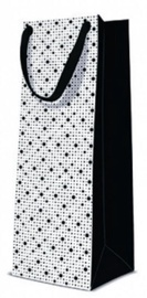 Paw Decor Collection Gift Bag Bottle Dots Texture Black 12x10x37cm