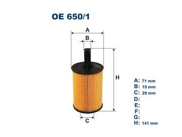 Automobilių tepalo filtras Filtron OE 650/1