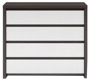 Black Red White Chest Of Drawers Kaspian KOM4S Wenge/White