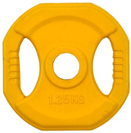 inSPORTline Square Rubber Coated Weight Plate 1.25kg 30mm Yellow