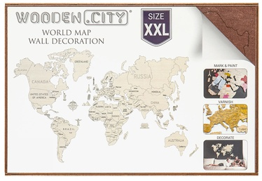 Wooden City Puzzle World Map XXL Dark Brown 110pcs