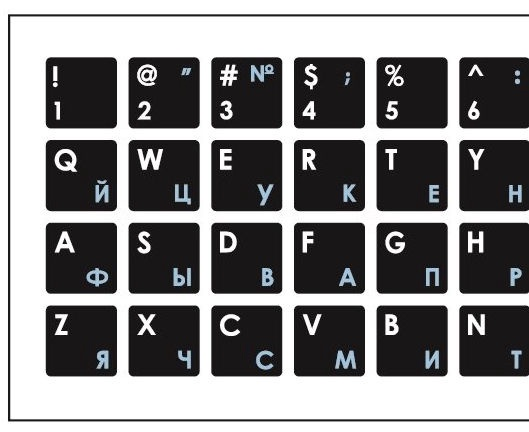 Mocco Keyboard Sticks ENG/RU With Laminated Waterproof Level White/Blue