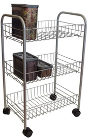 Asi Collection Rolling Cart 3 Shelves Grey