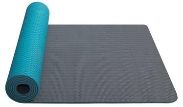 Fitnesa un jogas paklājs Yate, pelēka/tirkīza, 173 cm x 61 cm x 6 mm