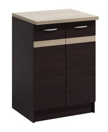 Нижний кухонный шкаф WIPMEB Livia LV-11/D60 Dark Sonoma Oak, 600x445x820 мм