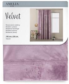 AmeliaHome Velvet Pleat Curtains Mauve 140x245cm