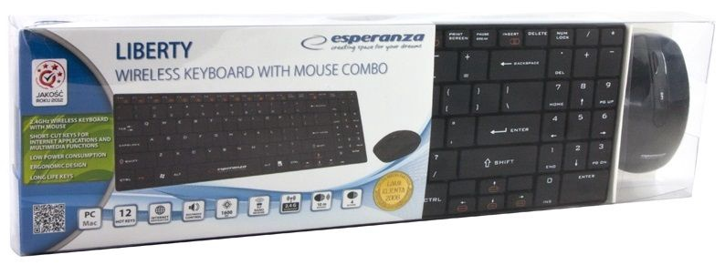 Esperanza EK122K Slim Wireless Keyboard + Wireless Mouse Black