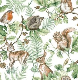 Tapetas flizelino pagrindu Graham & Brown, 108569, Kids & Home, baltas su žaliais lapais ir gyvūnais