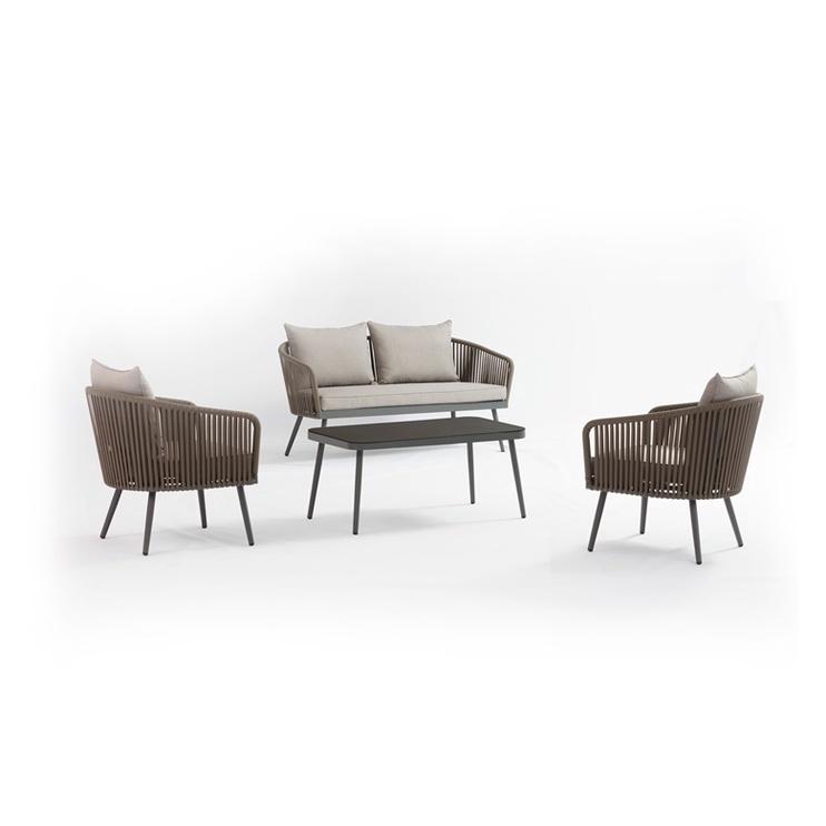 Sodo baldų komplektas Domoletti Ecco Ratan J5113-TR-KD, pilkas/rudas, 4 vietų
