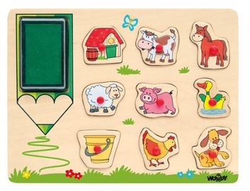 Woodyland Wooden Puzzle Stamps Farm Animals 10pcs