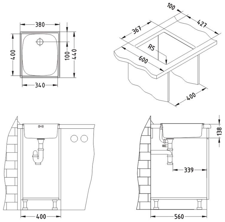Köögivalamu Alveus Basic10, 38x44cm