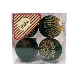 Елочная игрушка Christmas Touch N3/8004RS Green, 80 мм, 4 шт.