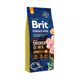 Sausas ėdalas šuniukams Brit Premium Junior M, su vištiena 3 kg