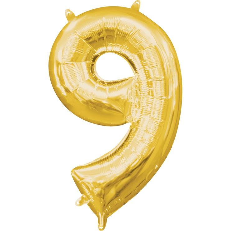 Balionas Amscan NR 9, aukso, 1 vnt.