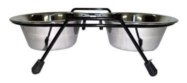 Dvigubas metalinis dubenėlis su stovu Madhubeni, 42,5 x 25,5 x 6,5