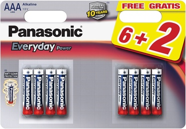 Baterijos Panasonic LR03EPS Everyday Power 6+2 x AAA