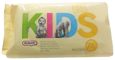 Mitrās salvetes Merkant Kids Wet Wipes 72pcs