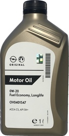 Машинное масло GM FE Longlife 0W - 20, синтетический, для легкового автомобиля, 1 л