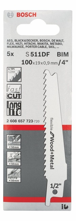 Bosch 2608657723 S 511 DF Sabre Saw Blades Set 5pcs