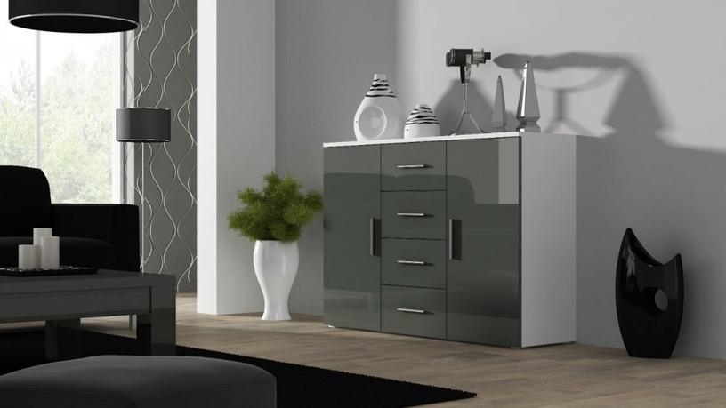 Komoda Cama Meble Uni White/Grey Gloss, 132x38x92 cm