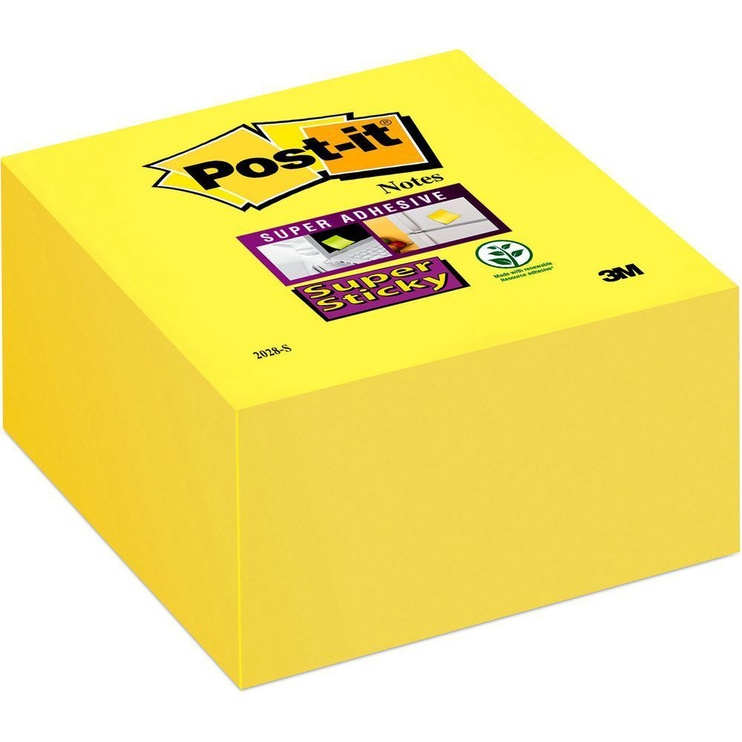 3M Post It Super Sticky Notes Cube 350pcs Ultra Yellow