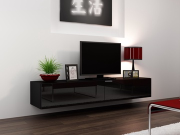 TV staliukas Cama Meble Vigo 180, juodas, 1800x300x400 mm