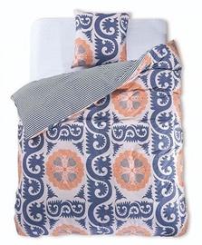 Gultas veļas komplekts DecoKing Diamond, zila/balta/oranža, 155x220/80x80 cm