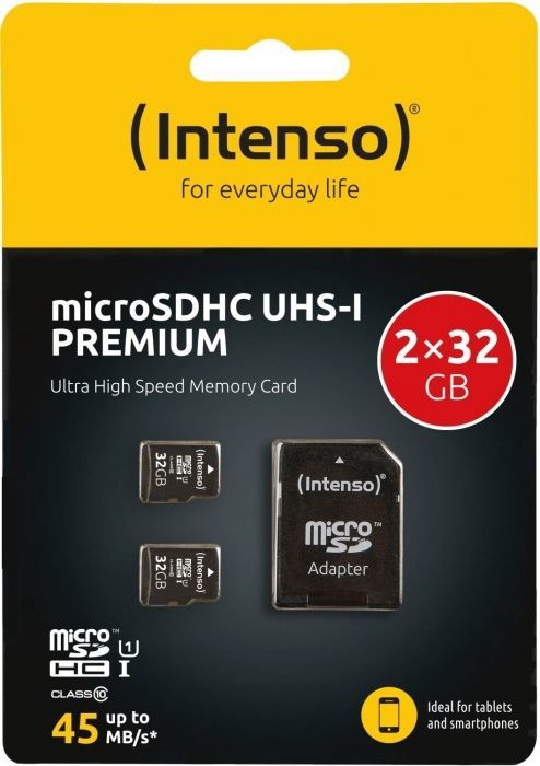 Intenso Premium 32GB microSDHC UHS-I 2-Pack + SD Adapter