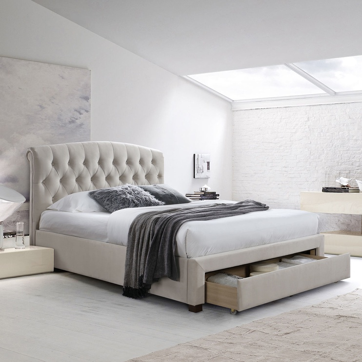 Home4you Natalia Bed w/ Mattress Harmony Delux 160x200cm Beige