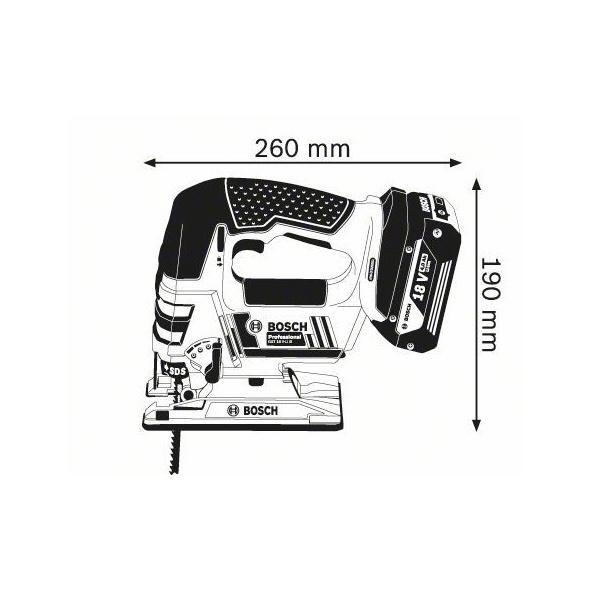 Akumuliatorinis siaurapjūklis Bosch GST 18 V-LIB, 18V, su lagaminu